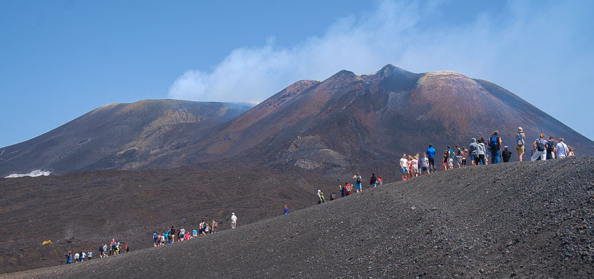 Lava fields along the way to the upper Etna slopes during a group Etna 4wd excursion