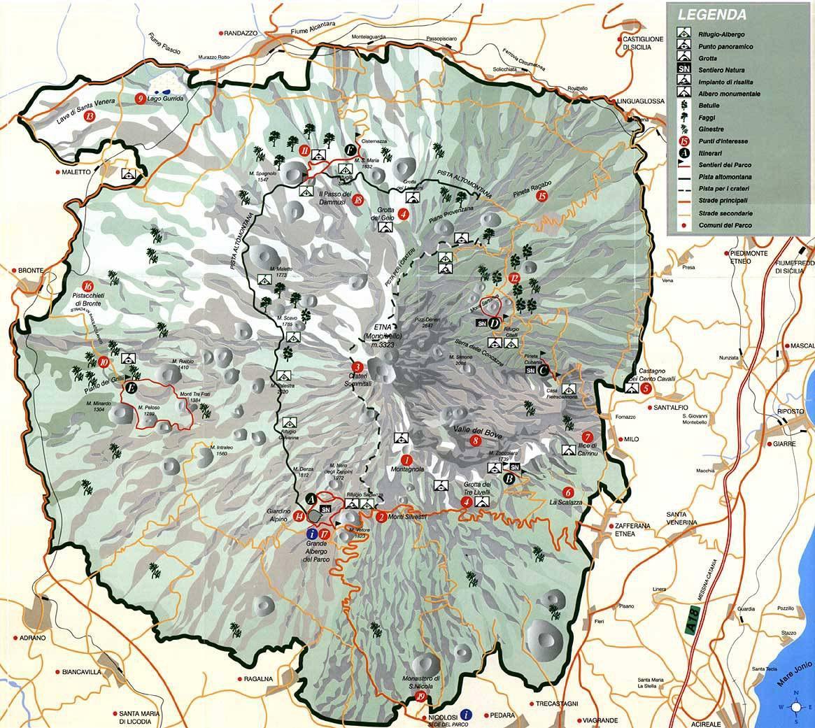 Карта велкана Этна
